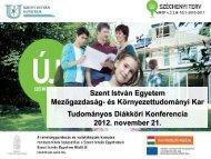 Díjkiosztó 2012 - és Környezettudományi Kar - Szent István Egyetem