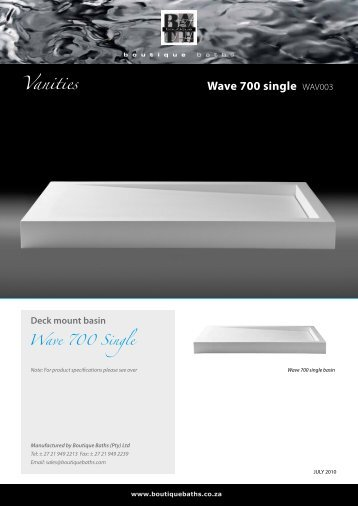 Wave 700 single WAV003 Vanities - Boutique Baths