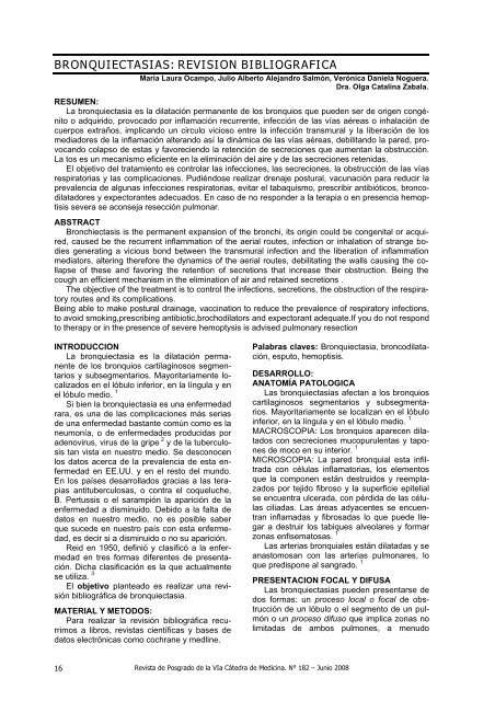 Varicosas quísticas bronquiectasias