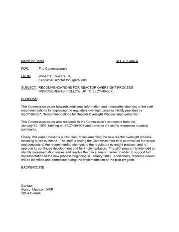 SECY-99-007A - Recommendations for Reactor Oversight ... - NRC