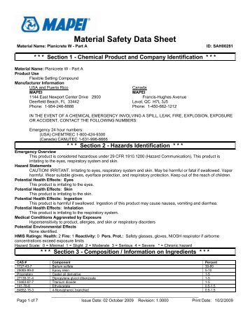 WM6006 Identifying Product Hazards: Material Safety Data Sheets ...
