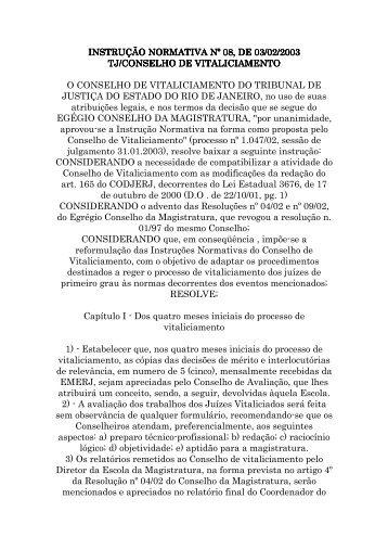 INSTRUÇÃO NORMATIVA Nº 08.2003 - Conselho de ... - Emerj