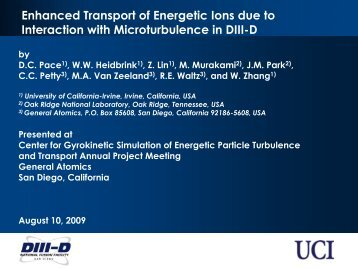 Enhanced Transport of Energetic Ions due to Interaction with ...