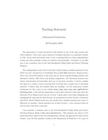 Teaching Statement - Welcome to the Department of Statistics