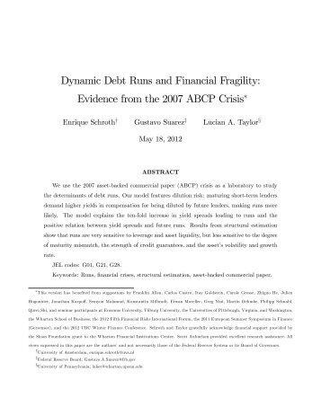 Dynamic Debt Runs and Financial Fragility ... - Cass Knowledge