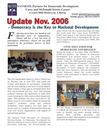 naymote's november update 2006 - World Movement for Democracy