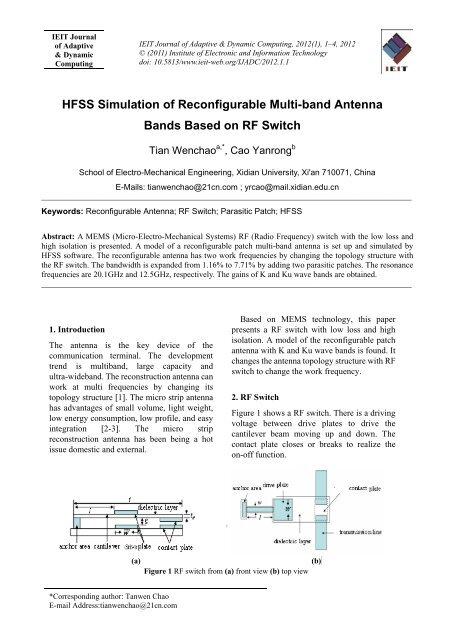 HFSS Simulation of Reconfigurable Multi-band Antenna Bands