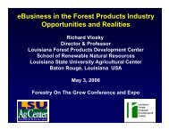 eBusiness in the Forest Products Industry Opportunities and Realities
