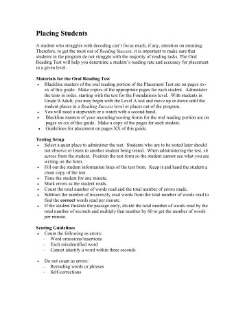 Corrective reading comprehension placement test materials for the oral reading test fandeluxe Image collections