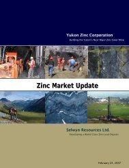 Zinc Market Update - Yukon Zinc Corporation