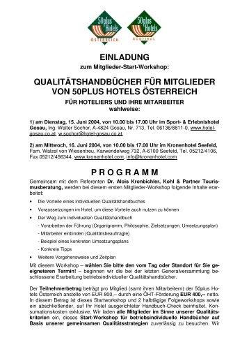 einladung qualitätshandbücher für mitglieder von 50plus hotels ...
