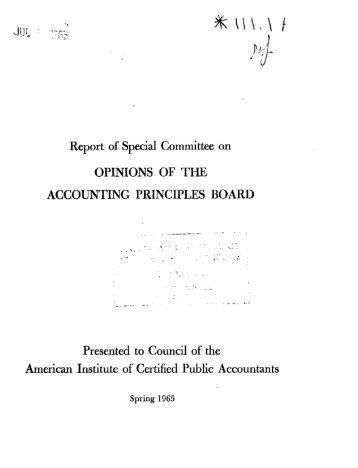 Report of Special Committee on Opinions of the Accounting ...