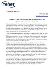 Palm Beach County Tenet Hospitals Observe ... - Tenet Florida