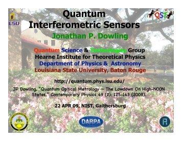 Quantum Interferometric Sensors - Department of Physics ...