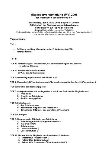 Mitgliederversammlung (MV) 2006 - Pfälzischer Schachbund
