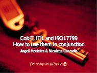 CobiT, ITIL and ISO17799 How to use them in conjunction