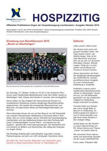 Einladung zum Benefizkonzert 2010 - Hospizbewegung Liechtenstein