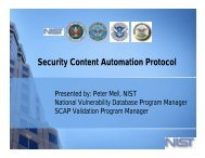 Security Content Automation Protocol (SCAP) - Build Security In