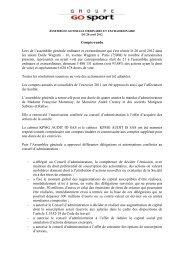 ASSEMBLEE GENERALE ORDINAIRE ET ... - Groupe Go Sport