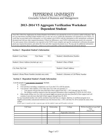 Printables Verification Worksheet Dependent Student dependent student verification form v5 delaware technical aggregate worksheet student