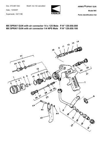 MX SPRAY GUN with air connector 14 x 125 Male ... - Epacnz.co.nz