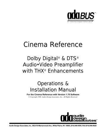 Cinema Referance Manual - Audio Design Associates