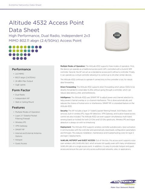 Altitude 4532 Access Point Data Sheet - Extreme Networks
