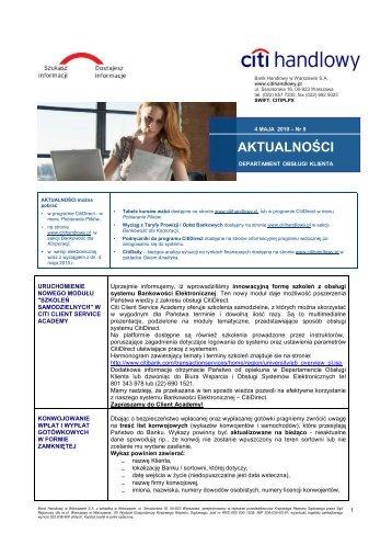 Wersja polska - Aktualności nr 5 (PDF, 204 KB) - Citibank Handlowy