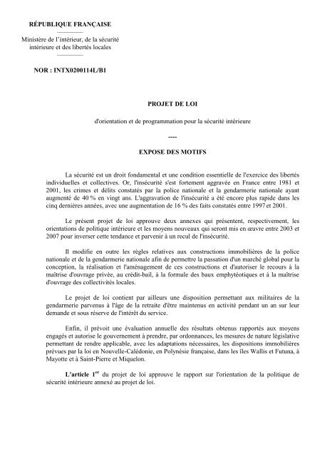 La sécurité intérieure : projet de loi d'orientation et de ... - Vie publique