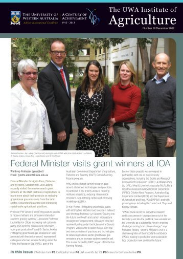 2012-December Newsletter - The UWA Institute of Agriculture - The ...