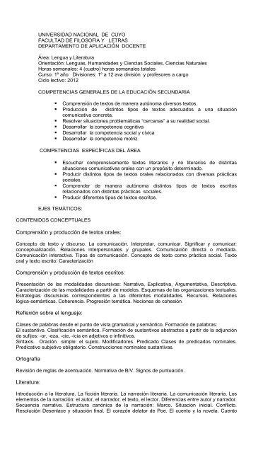 Programa Lengua Y Literatura 1º 2012 Dad Departamento De