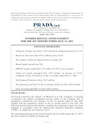 interim results announcement for the six months ... - Prada Group