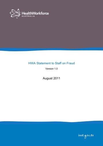 HWA Statement to Staff on Fraud - Health Workforce Australia