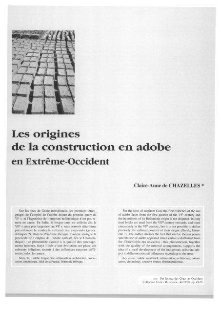 Les origines de la construction en adobe - E-Corpus