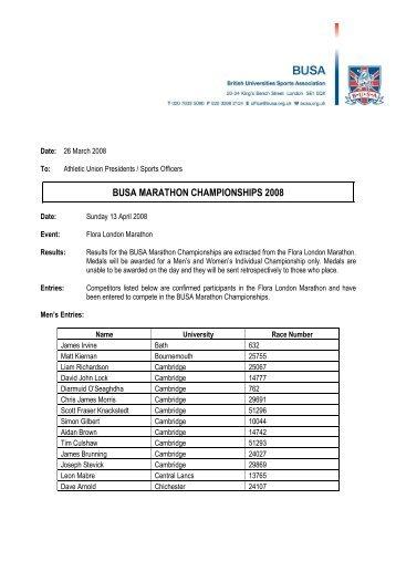 Marathon Pre-Event Information