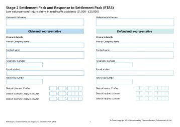 Stage 2 Settlement Pack Form and Response to Settlement Pack
