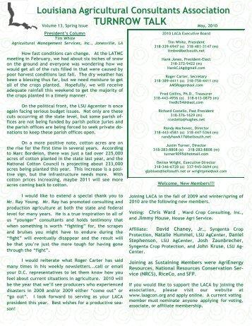 Spring 2010 - Louisiana Agricultural Consultants Association ( LACA )