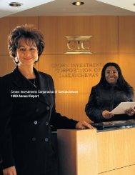 1999 Crown Investments Corporation of Saskatchewan Annual Report