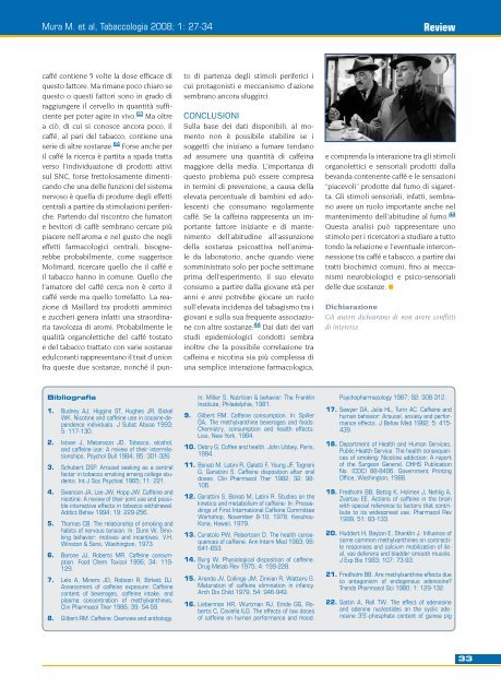 Interazioni tra fumo di tabacco e caffeina - Tabaccologia