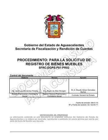 Procedimiento operativo de inventario f sico de bienes muebles for Registro de bienes muebles sevilla