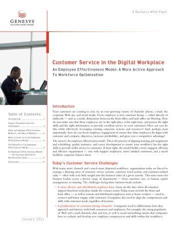 Customer Service in the Digital Workplace An ... - Callcentres.net