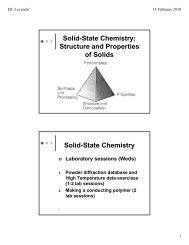 Solid-State Chemistry - Wits Structural Chemistry