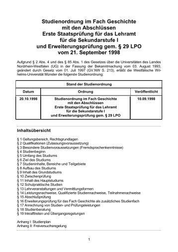 Studienordnung im Fach Geschichte mit den Abschlüssen ... - ZSB