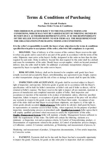 Terms & Conditions of Purchasing - Davis Aircraft