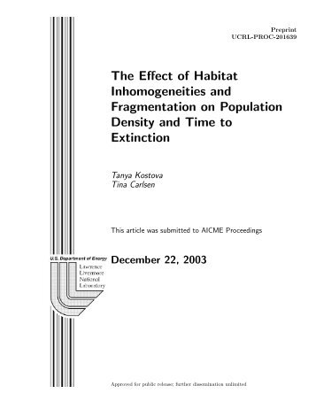 The Effect of Habitat Inhomogeneities and Fragmentation on ...