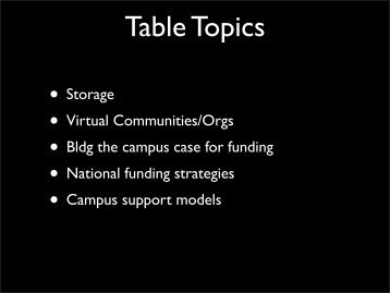 Table Topics - Internet2 Middleware Initiative