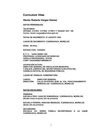 Currículum Vitae - Gobierno del Estado de Morelos