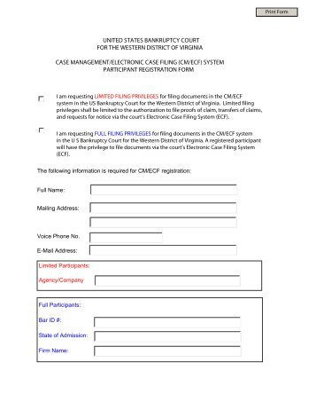 cm/ecf registration form – attorney/trustee - us bankruptcy court