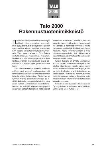 Talo 2000 Rakennustuotenimikkeistö pdf ... - Rakennustieto Oy