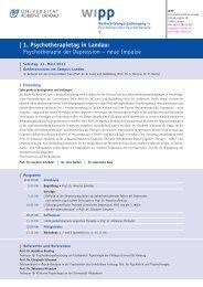 1. Psychotherapietag in Landau - Deutscher Psychologen Verlag ...